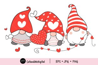 Gnomes Valentine Day Clipart. Graphic Illustrations By CatAndMe