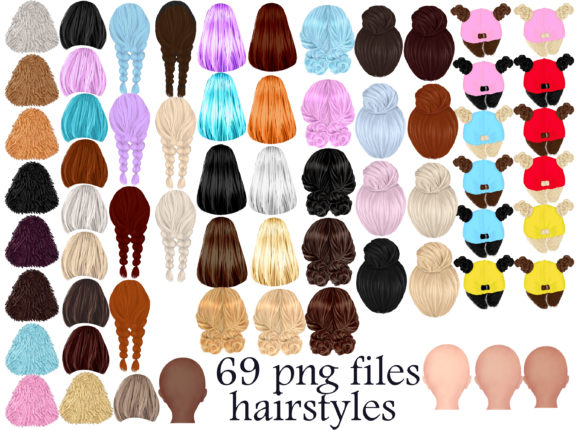 Print on Demand: Hairstyles Clipart, Girls Hair Clipart Graphic Illustrations By Stickerica Shop