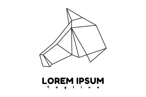 Print on Demand: Horse Head Origami Logo Graphic Logos By pnajlab