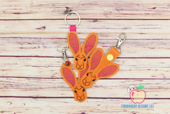 Jackrabbit in the Hoop Keyfob Wild Animals Embroidery Design By embroiderydesigns101