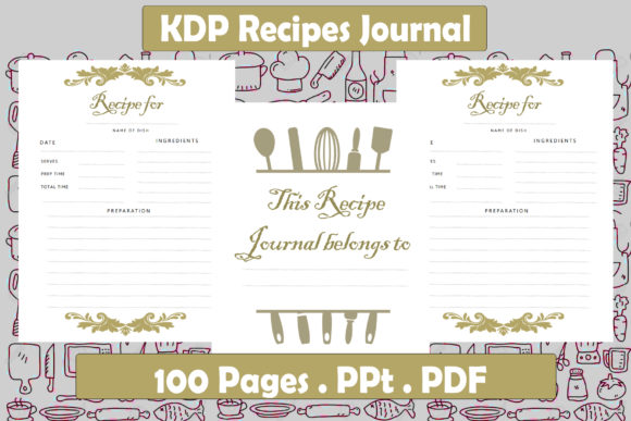 Print on Demand: KDP Recipes Journal Interior Graphic KDP Interiors By Ansart