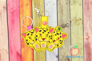 Leopard Face Keyfob Keychain ITH Wild Animals Embroidery Design By embroiderydesigns101