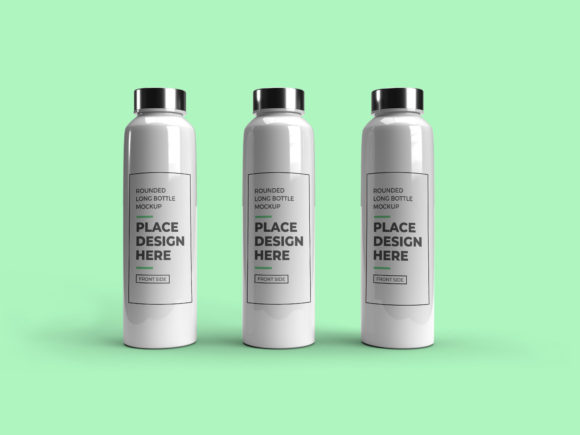 Print on Demand: Long Rounded Plastic Bottle Mockup Graphic Product Mockups By dendysign