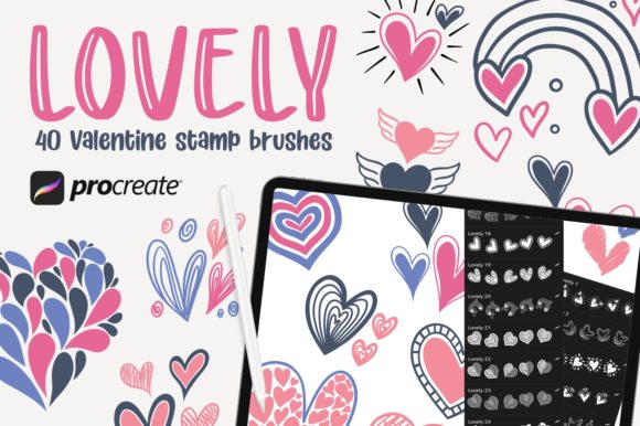 Print on Demand: Lovely - 40 Stamp Brush Procreate Graphic Brushes By goodjavastudio
