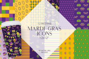 Print on Demand: Mardi Gras Emoji Graphic Patterns By Prettygrafik