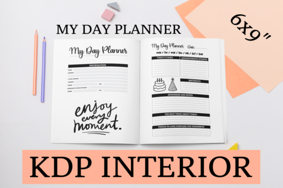 Print on Demand: My Day Planner | KDP Interior Gráfico Páginas KDP Por KDP Mastermind