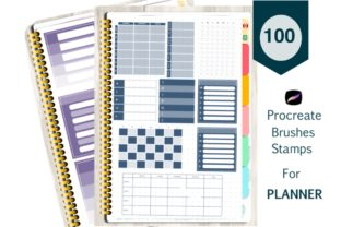 Print on Demand: Planner Stamp Procreate Brushes Graphic Brushes By Richy Bunny