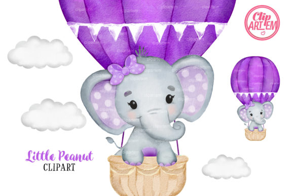 Print on Demand: Purple Elephant Girl Hot Air Balloon Graphic Illustrations By clipArtem