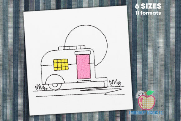 Retro Camper Van Sketch Camping & Fishing Embroidery Design By embroiderydesigns101