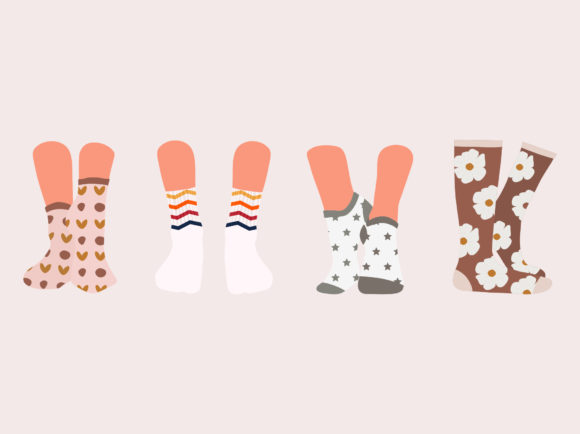 Print on Demand: Set of Female Socks in Different Pattern Graphic Illustrations By Musbila