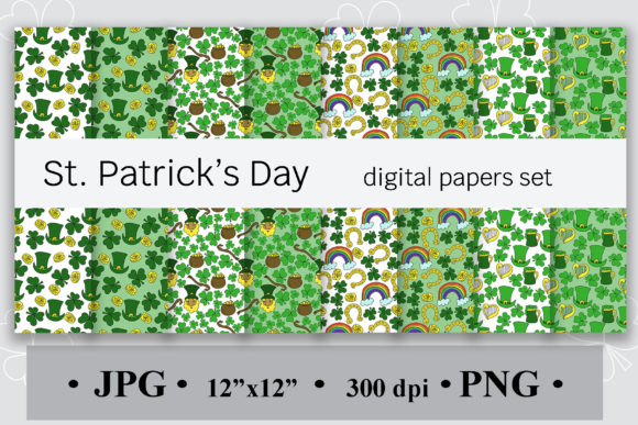 St. Patrick's Day Digital Papers Set Graphic Backgrounds By SunnyColoring