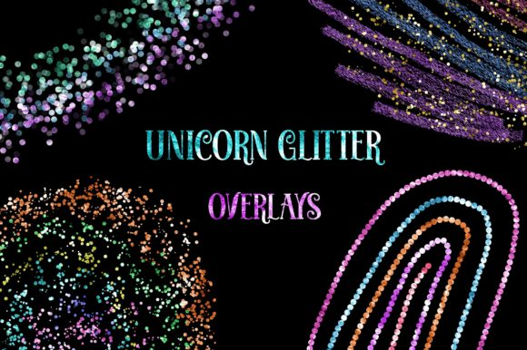 Unicorn Glitter Overlays Clipart Graphic Backgrounds By PinkPearly