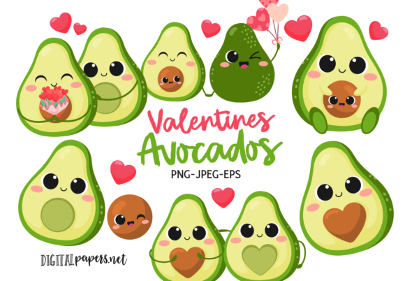 Print on Demand: Valentines Avocados Gráfico Ilustraciones Por DigitalPapers