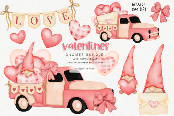 Print on Demand: Valentine's Day Gnomes Clipart Bundle Graphic Crafts By Chonnieartwork