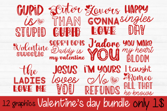 Print on Demand: Valentine's Day SVG PNG BUNDLE Graphic Print Templates By inlovewithkats