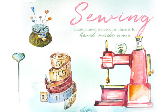 Watercolor Sewing Clipart Set Graphic Illustrations By artcreationsdesign