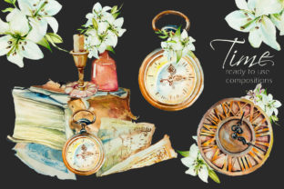 Watercolor Time Design Set Graphic Illustrations By artcreationsdesign