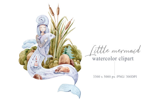 Print on Demand: Watercolor Mermaid Clipart. Mermaid Tail Graphic Illustrations By Tiana Geo