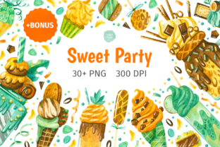Print on Demand: Watercolor Sweets, Baking Clipart Graphic Objects By ValinMalin