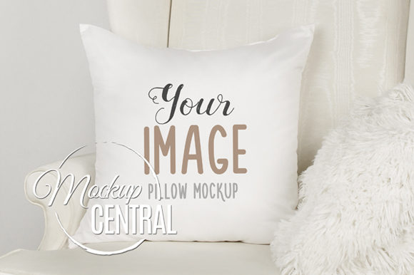 White Square Mockup Pillow Mockup JPG Graphic Product Mockups By Mockup Central