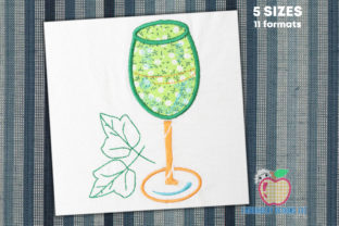 Wine Glass with Leaf Applique Kitchen & Cooking Embroidery Design By embroiderydesigns101