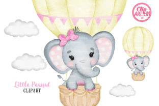 Print on Demand: Yellow Pink Elephant Girl Balloon Graphic Illustrations By clipArtem