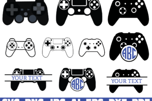 Print on Demand: Gamer Controller Split Monogram Name Graphic Illustrations By Sofiamastery