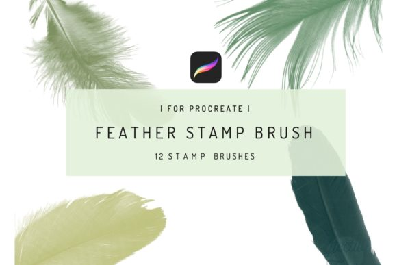 12 Procreate Feather Stamp Brush Graphic Brushes By EfficientTools