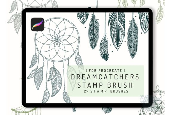 27 Procreate Dreamcatcher Stamp Brush Graphic Brushes By EfficientTools
