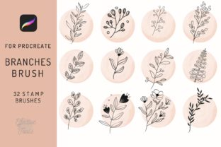 32 Leaves and Branches Procreate Brushes Graphic Brushes By EfficientTools