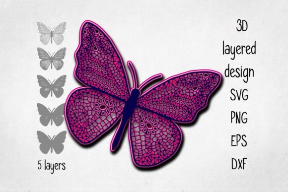 Print on Demand: 3D Layered Butterfly Graphic 3D Shapes By Eva Barabasne Olasz