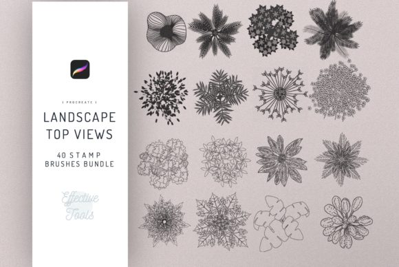 40 Landscape Elements Top Views Brush Graphic Brushes By EfficientTools