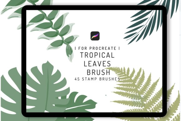 45 Procreate Tropical Leaves Brush Graphic Brushes By EfficientTools
