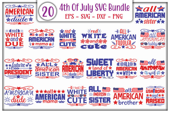 Print on Demand: 4th of July SVG Design Bundle Graphic Print Templates By GraphicsBooth
