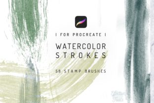 58 Procreate Watercolor Brush Strokes Graphic Brushes By EfficientTools