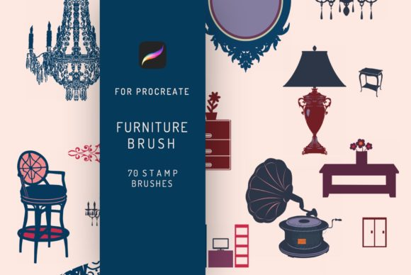 70 Procreate Furniture Stamp Brush Graphic Brushes By EfficientTools