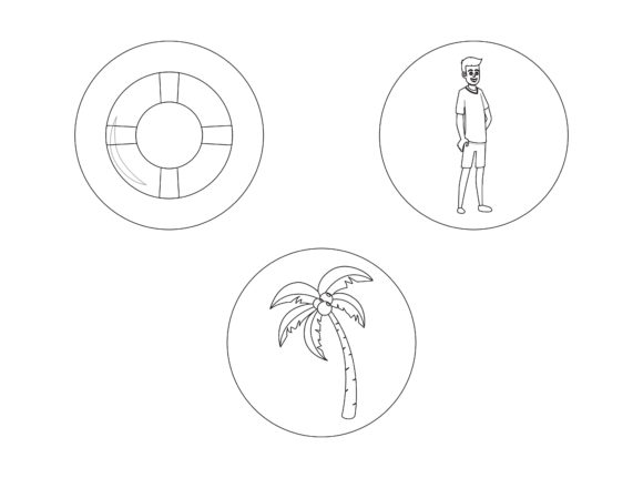 Beach Buoy Outline Bundle Grafik Illustrationen von printablesplazza