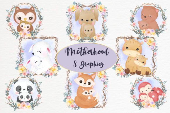 Cute Motherhood Clipart Set Graphic Graphic Illustrations By DrawStudio1988