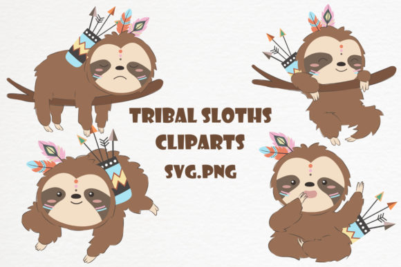 Cute Tribal Sloths Clipart Set Graphic Illustrations By DrawStudio1988