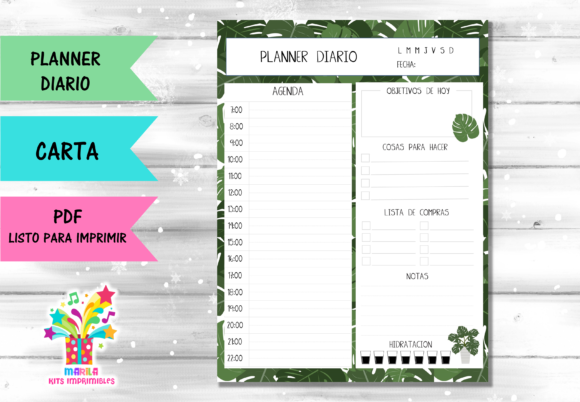 DAILY PLANNER Monstera Plant Spanish Graphic Print Templates By marilakits