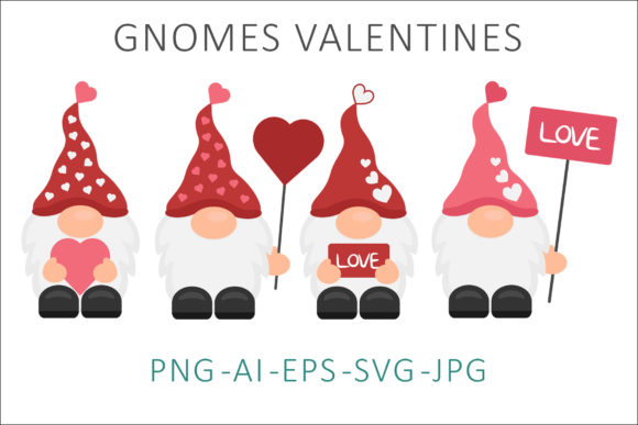 Print on Demand: Gnome Valentines Vector Illustration SVG Graphic Illustrations By AS Digitale