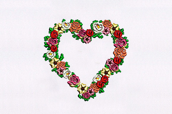 Heart Shape Flowers Valentine's Day Embroidery Design By DigitEMB