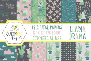Print on Demand: Llama Digital Papers Graphic Backgrounds By Queen Bee Papier