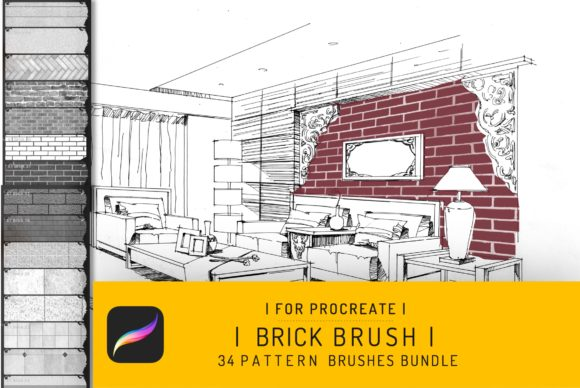 Procreate Brick Seamless Texture Brush Graphic Brushes By EfficientTools