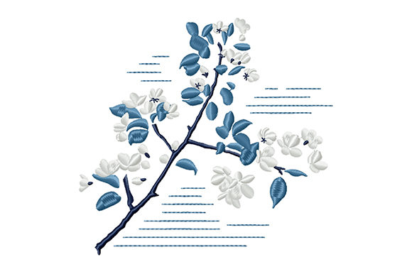 Print on Demand: Stylized Apple Tree Branch Bouquets & Bunches Embroidery Design By EmbArt