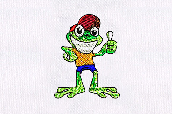 Thumbs Up Frog Cartoon Baby Animals Embroidery Design By DigitEMB