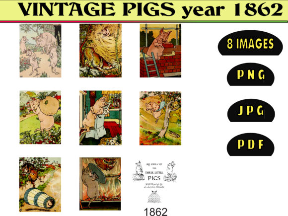 Print on Demand: VINTAGE PIGS Year 1862 Graphic Illustrations By kdp Edition