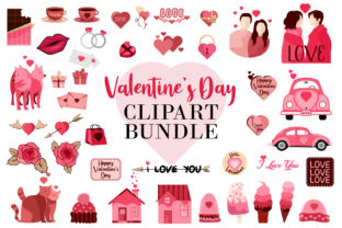 Print on Demand: Valentine's Day Clipart SVG Bundle Graphic Print Templates By Universtock