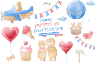Print on Demand: Valentine's Day Sweet Teddy Bear Clipart Graphic Illustrations By Helotype