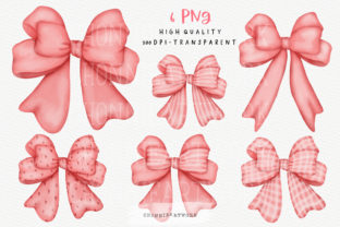 Print on Demand: Watercolor Pink Ribbon Bow Clipart Graphic Crafts By Chonnieartwork